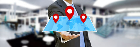 Businessman holding digital map in his hands Royalty Free Stock Photography