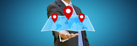 Businessman holding digital map in his hands Stock Photography
