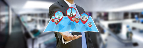 Businessman holding digital map in his hands Royalty Free Stock Photos