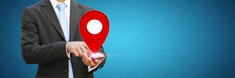 Businessman holding digital map in his hands Royalty Free Stock Images
