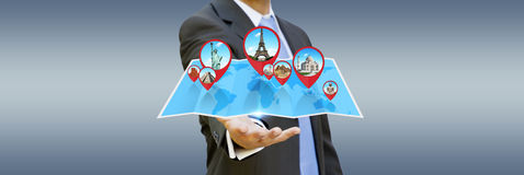 Businessman holding digital map in his hands Stock Photos