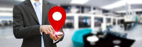 Businessman holding digital map in his hands Stock Images