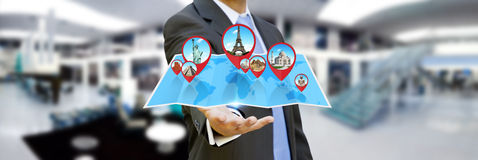 Businessman holding world his hands stock illustrations 129 businessman holding digital map in his hands businessman with digital map and pins floating over gumiabroncs Choice Image