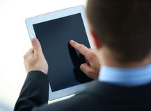 Businessman holding digital tablet Stock Photos