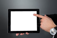 Businessman Holding Digital Tablet With Blank Screen Royalty Free Stock Image