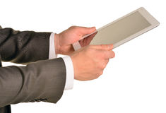 Businessman holding digital tablet, closeup Stock Photo