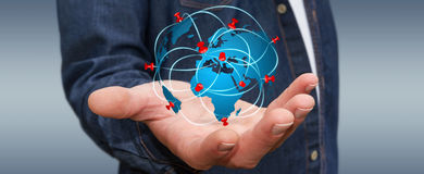 Businessman holding world his hands stock illustrations 128 businessman holding digital world map in his hands businessman with digital world map and pins publicscrutiny Images