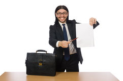The businessman holding document isolated on white Royalty Free Stock Photo