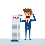 Businessman holding document tax feels headache and worries about paying a lot of taxes. Businessman no money. Debt concept. Stock Images