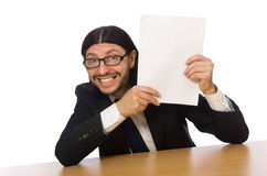 The businessman holding document  on white Royalty Free Stock Photos