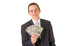 Businessman holding dollar banknotes Stock Image