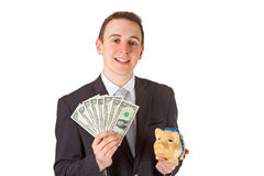 Businessman holding dollar banknotes Royalty Free Stock Images