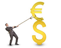 Businessman holding dollar and euro sign with rope Stock Photography