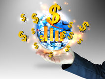 Businessman holding dollars sign. And graph Stock Image