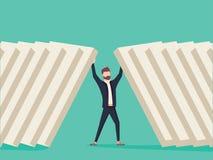 Businessman holding domino bricks. Symbol of determination, focus and business success. vector illustration