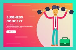Businessman holding dumbbell. Vector illustration. royalty free illustration