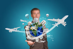 Businessman holding earth with buildings Royalty Free Stock Image