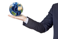 Businessman holding the earth in his hand Royalty Free Stock Photography