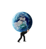 Businessman holding earth Stock Photos