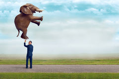 Businessman holding an elephant with one finger Stock Photography