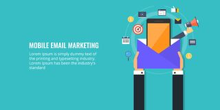 Email marketing, push notification, message on a mobile phone, promotion, digital media concept. Flat design marketing banner. Businessman holding an email Royalty Free Stock Photo