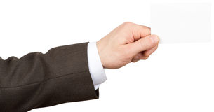 Businessman holding empty card Royalty Free Stock Photography