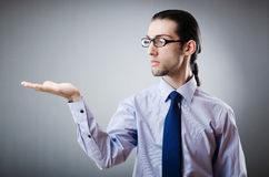 Businessman holding empty hands royalty free stock photo