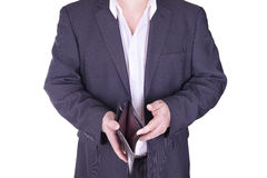Businessman holding an empty wallet. Royalty Free Stock Photos