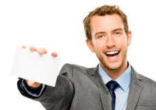 Businessman holding empty white placard showing copy space Stock Images