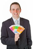Businessman holding eurobanknotes Stock Photography