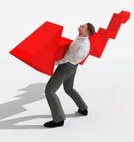 Businessman holding falling graph vector illustration