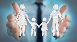 Businessman holding family interface in his hand 3D rendering. Businessman on blurred background holding family interface in his hand 3D rendering Royalty Free Stock Photos