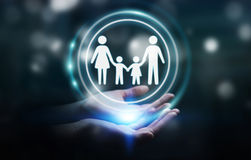 Businessman holding family interface in his hand 3D rendering. Businesswoman on blurred background holding family interface in his hand 3D rendering Stock Photography