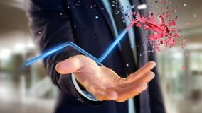 Businessman holding a Financial arrow going up and explosing at. View of a Businessman holding a Financial arrow going up and explosing at the end - 3d rendering Royalty Free Stock Photo