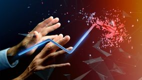 Businessman holding a Financial arrow going up and explosing at. View of a Businessman holding a Financial arrow going up and explosing at the end - 3d rendering Stock Photography