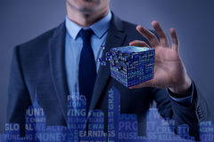 The businessman holding financial cube in business concept Royalty Free Stock Image