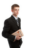 Businessman holding financial paper Royalty Free Stock Photo