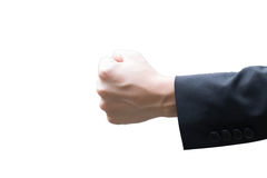 Businessman holding fist and raising in the air Stock Photo