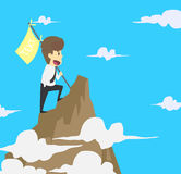 Businessman holding a flag that succeed in mountain.  royalty free illustration