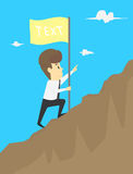 Businessman holding a flag that succeed in mountain.  stock illustration
