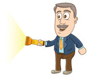 Businessman -  Holding flashlight Royalty Free Stock Photos