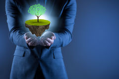 The businessman holding floating island with tree Stock Images