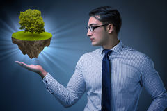 The businessman holding floating island with tree Stock Photos
