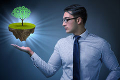 The businessman holding floating island with tree Stock Photography