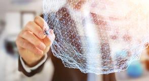 Businessman holding flying network sphere 3D rendering Stock Photos