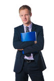 Businessman holding folder with document stock photo