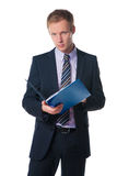 Businessman holding folder with  document Royalty Free Stock Photography