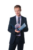 Businessman holding folder with  document Stock Images