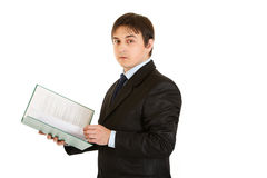 Businessman holding folder with documents in hand Royalty Free Stock Photo
