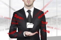 Businessman holding folder symbol internet attack Stock Image